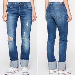 Blank NYC Deep Cuff Straight Raw Hem Jeans